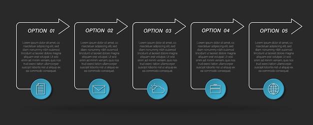 Cuadro de texto moderno infográfico, proceso de línea de tiempo con 5 opciones, flechas