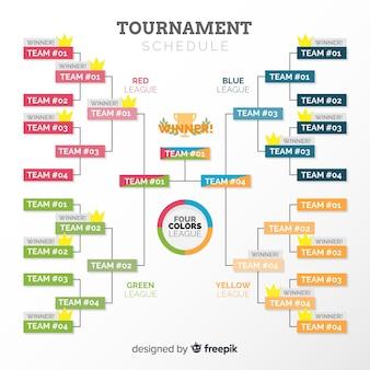 Cuadro de torneo colorido con diseño plano