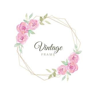Cuadro vintage floral acuarela con borde dorado