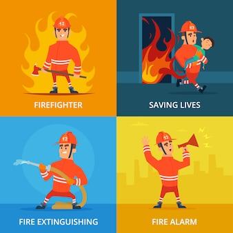 Cuadros conceptuales de bomberos y equipos de trabajo.