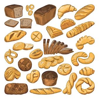 Cuadros dibujados a mano coloreados de pan fresco y diferentes tipos de alimentos de panadería