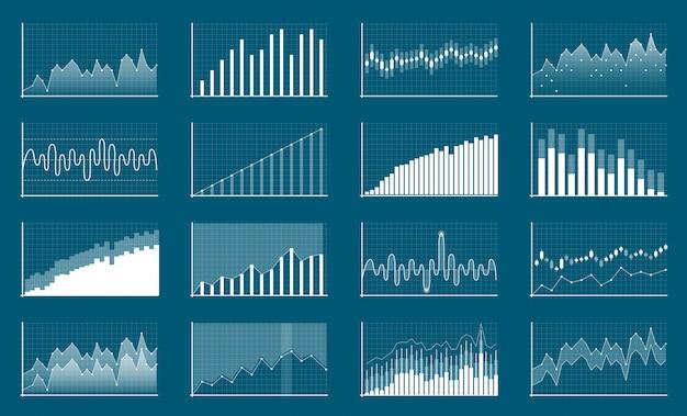 Cuadros financieros de datos empresariales. diagrama de finanzas