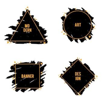 Cuadros de moda de trazos de pincel de tinta