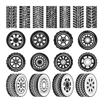 Cuadros monocromos con protector de ruedas y neumáticos.