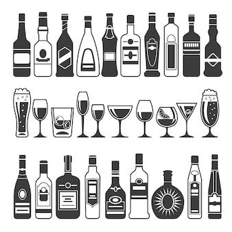 Cuadros negros de botellas alcohólicas.