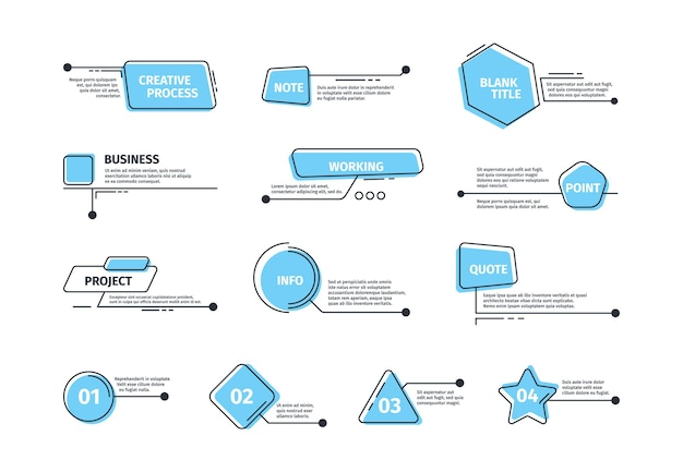 Cuadros de rótulos. marcos digitales para plantillas de barras de diseño de texto imágenes gráficas de llamadas vectoriales. infografía de cuadro de texto de ilustración, tablero de menú