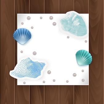 Cuadros de tarjetas, conchas y perlas. marco de conchas de vacaciones de verano.