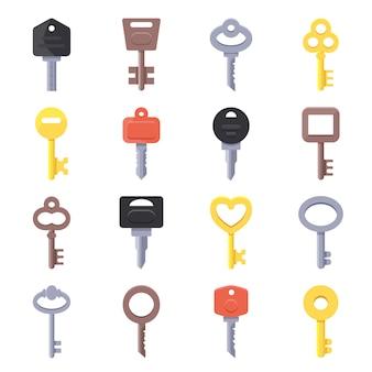 Cuadros vectoriales de llaves para puertas.