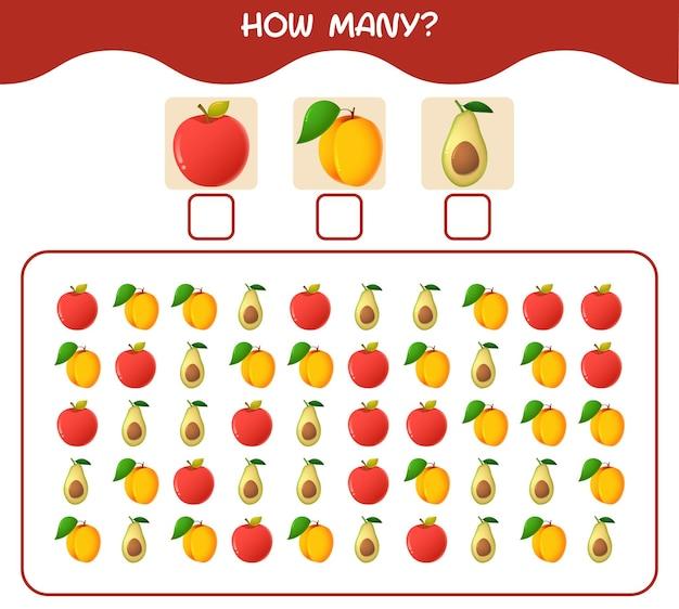 Cuántas frutas de dibujos animados. contando juego. juego educativo para niños y niños pequeños en edad preescolar.