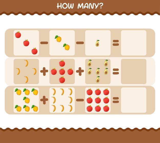 Cuántas frutas de dibujos animados. contando juego. juego educativo
