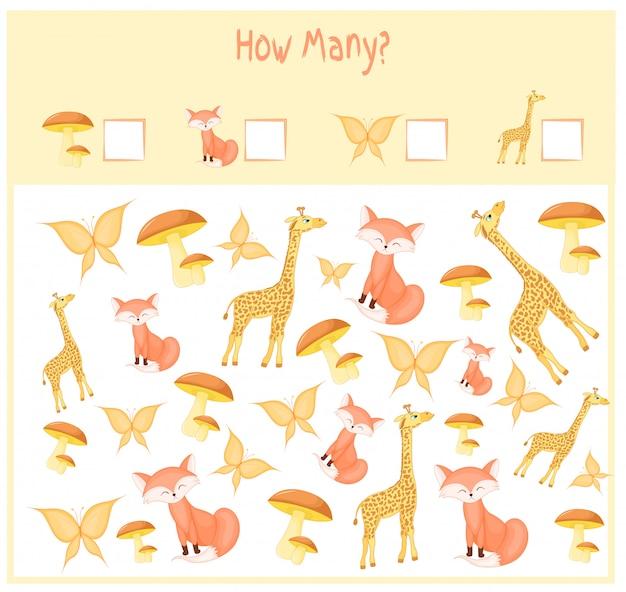 Cuántas planillas con animales. juego educativo para niños. ilustracion vectorial
