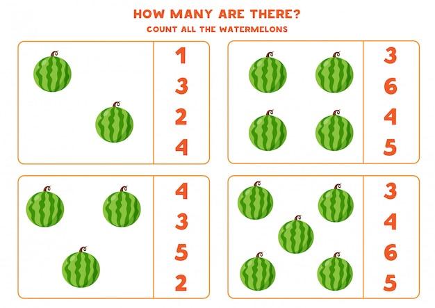 Cuántas sandías hay. juego de contar educativo para niños. hoja de trabajo de matemáticas para niños en edad preescolar.