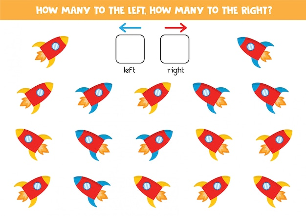 Cuántos cohetes van a la izquierda y a la derecha, contando el juego para niños.