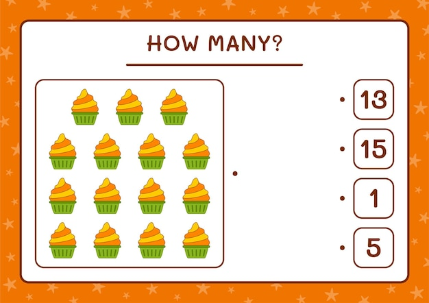 Cuántos cup cake, juego para niños. ilustración vectorial, hoja de trabajo imprimible