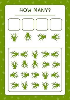 Cuántos dead tree, juego para niños. ilustración vectorial, hoja de trabajo imprimible
