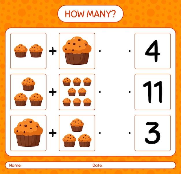 Cuántos juego de contar con cupcake. hoja de trabajo para niños en edad preescolar, hoja de actividades para niños