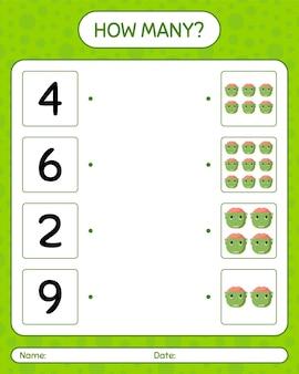 Cuántos juego de contar con frankenstein. hoja de trabajo para niños en edad preescolar, hoja de actividades para niños