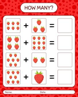 Cuántos juego de contar con fresa. hoja de trabajo para niños en edad preescolar, hoja de actividades para niños, hoja de trabajo imprimible