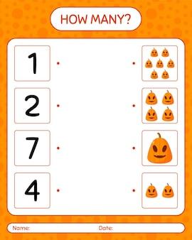 Cuántos juego de contar con jack o 'lantern. hoja de trabajo para niños en edad preescolar, hoja de actividades para niños