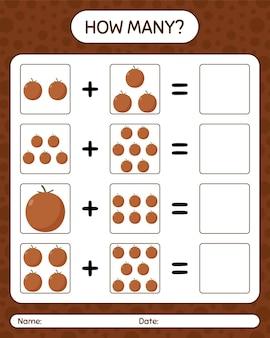 Cuántos juego de contar la manzana de terciopelo. hoja de trabajo para niños en edad preescolar, hoja de actividades para niños, hoja de trabajo imprimible
