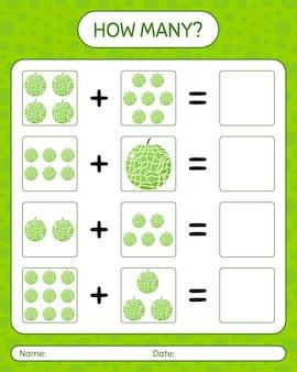 Cuántos juego de contar con melón. hoja de trabajo para niños en edad preescolar, hoja de actividades para niños, hoja de trabajo imprimible