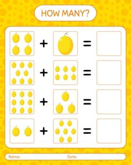 Cuántos juego de contar con melón de miel. hoja de trabajo para niños en edad preescolar, hoja de actividades para niños, hoja de trabajo imprimible