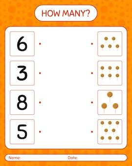 Cuántos juego de contar con piruleta. hoja de trabajo para niños en edad preescolar, hoja de actividades para niños