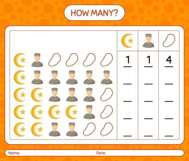 Cuántos juego de conteo con el icono de ramadán. hoja de trabajo para niños en edad preescolar, hoja de actividades para niños, hoja de trabajo imprimible