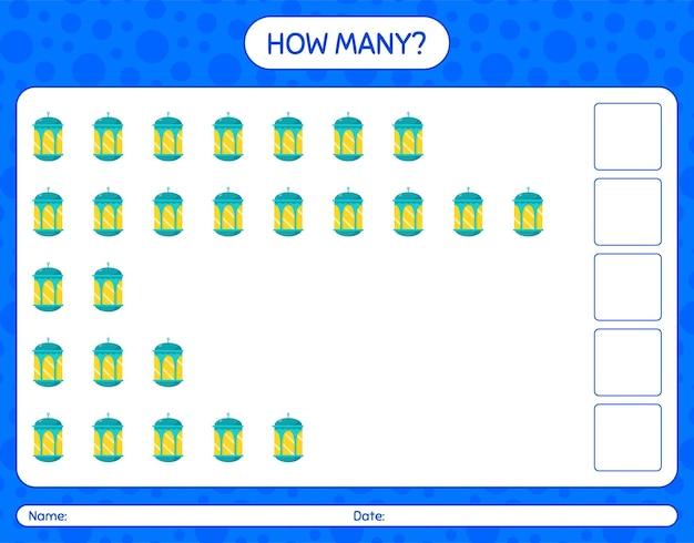 Cuántos juego de conteo con linterna árabe. hoja de trabajo para niños en edad preescolar