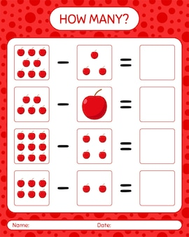 Cuántos juego de conteo de manzana. hoja de trabajo para niños en edad preescolar, hoja de actividades para niños, hoja de trabajo imprimible