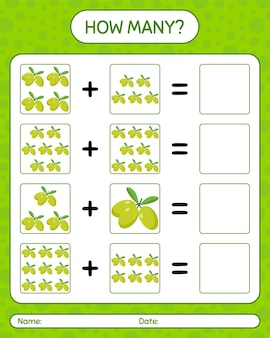 Cuantos juegos de contar con aceituna. hoja de trabajo para niños en edad preescolar, hoja de actividades para niños, hoja de trabajo imprimible
