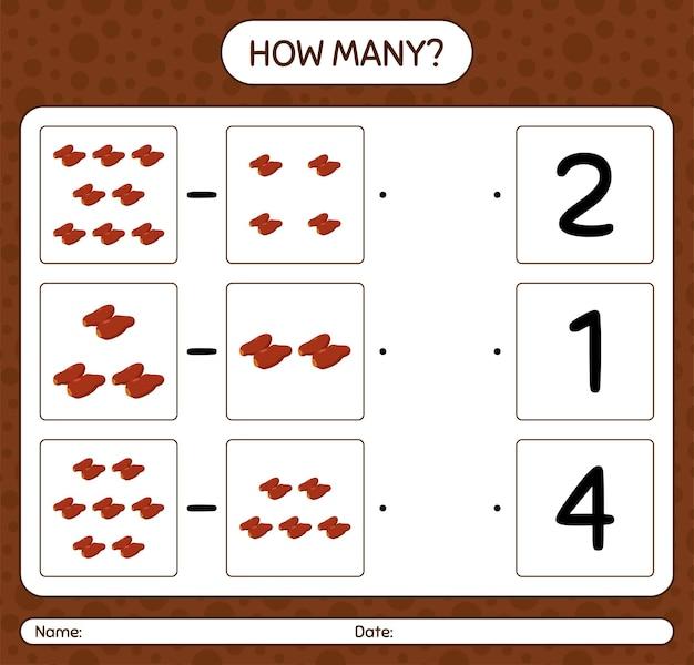 Cuántos juegos de contar con frutas de dátiles. hoja de trabajo para niños en edad preescolar