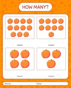 Cuantos juegos de contar con hoja de trabajo de melocotón para niños en edad preescolar, hoja de actividades para niños, hoja de trabajo imprimible