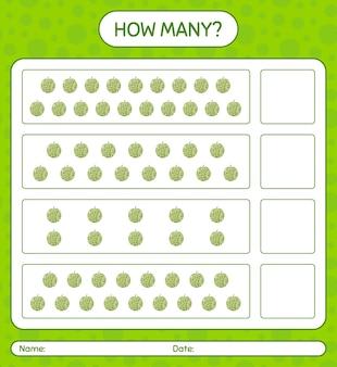 Cuantos juegos de contar con hoja de trabajo de melón para niños en edad preescolar, hoja de actividades para niños, hoja de trabajo imprimible