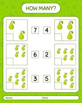 Cuantos juegos de contar con hoja de trabajo de pera para niños en edad preescolar, hoja de actividades para niños, hoja de trabajo imprimible