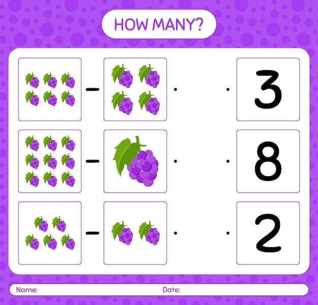Cuantos juegos de contar con hoja de trabajo de uva para niños en edad preescolar, hoja de actividades para niños, hoja de trabajo imprimible