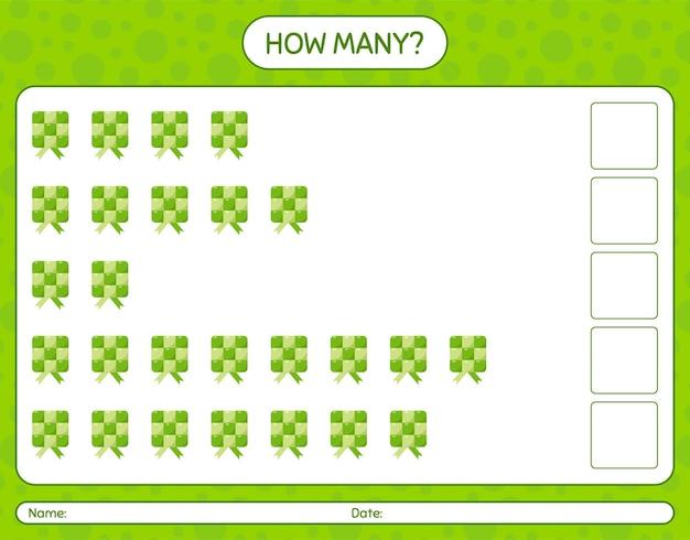 Cuántos juegos de contar con ketupat. hoja de trabajo para niños en edad preescolar