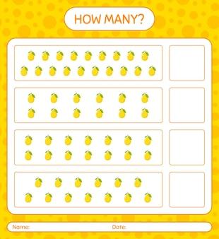 Cuantos juegos de contar con limón hoja de trabajo para niños en edad preescolar, hoja de actividades para niños, hoja de trabajo imprimible