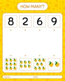Cuántos juegos de contar con limones. hoja de trabajo para niños en edad preescolar, hoja de actividades para niños, hoja de trabajo imprimible