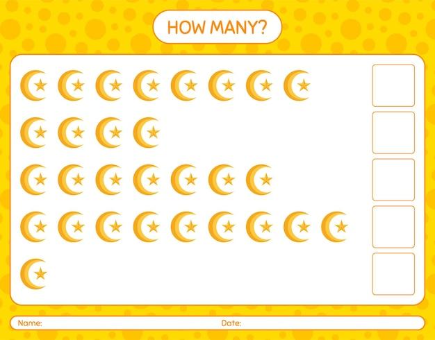Cuántos juegos de contar con luna y estrella. hoja de trabajo para niños en edad preescolar