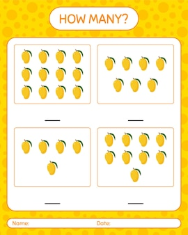 Cuantos juegos de contar con mango hoja de trabajo para niños en edad preescolar, hoja de actividades para niños, hoja de trabajo imprimible