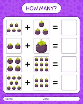 Cuántos juegos de contar con mangostán. hoja de trabajo para niños en edad preescolar, hoja de actividades para niños, hoja de trabajo imprimible