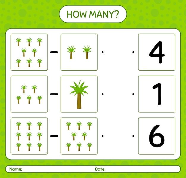 Cuántos juegos de contar con palmera. hoja de trabajo para niños en edad preescolar
