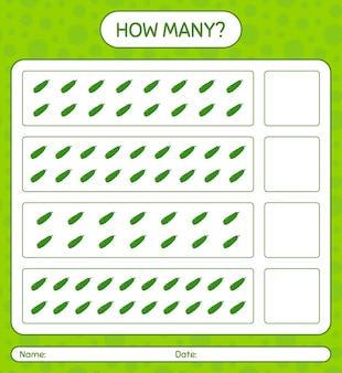 Cuantos juegos de contar con pepino hoja de trabajo para niños en edad preescolar, hoja de actividades para niños, hoja de trabajo imprimible