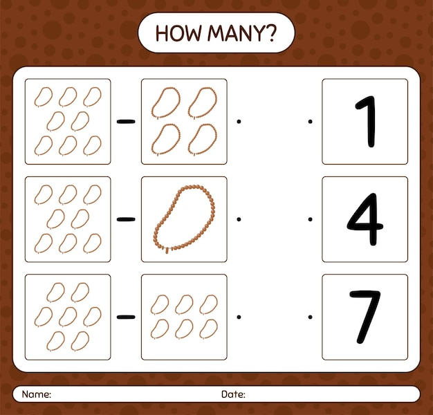 Cuántos juegos de contar con rosarios. hoja de trabajo para niños en edad preescolar