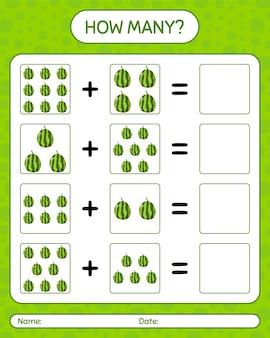 Cuántos juegos de contar sandía. hoja de trabajo para niños en edad preescolar, hoja de actividades para niños, hoja de trabajo imprimible