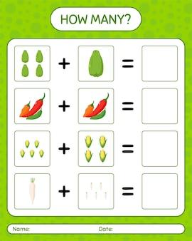 Cuántos juegos de contar con verduras. hoja de trabajo para niños en edad preescolar, hoja de actividades para niños, hoja de trabajo imprimible