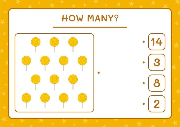 Cuántos lollipop, juego para niños. ilustración vectorial, hoja de trabajo imprimible