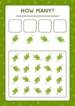Cuántos zombie hand, juego para niños. ilustración vectorial, hoja de trabajo imprimible