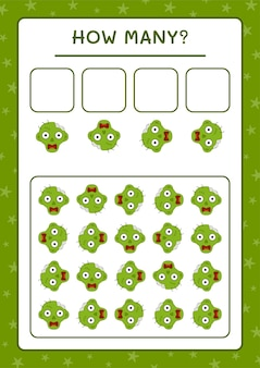 Cuántos zombies, juego para niños. ilustración vectorial, hoja de trabajo imprimible